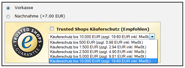 Aufpreisliste Trusted Shops